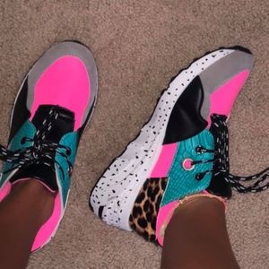 Faux Cheetah + Neon Pink Sneakers (boutique)